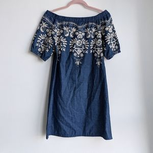 Light Chambray Off the shoulder embroidered dress